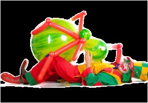 Clown Pippy kämpft mit riesen Ballontier in Herne