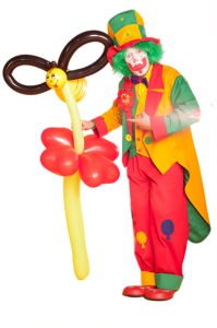 Auf diesem Bild sieht man Ballonkünstler clown pippy mit einer riesigen Blume aus Ballons