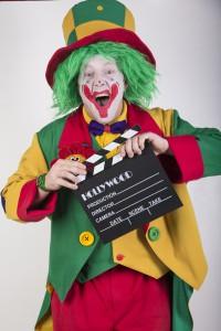 Clown Pippy mit einer Filmklappe in Duisburg